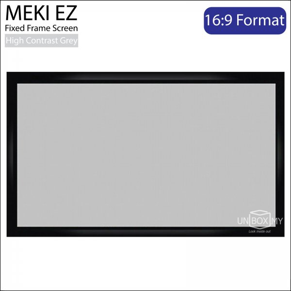 MEKI Fixed Frame Projector Screen High Contrast Grey (HDTV 16:9)
