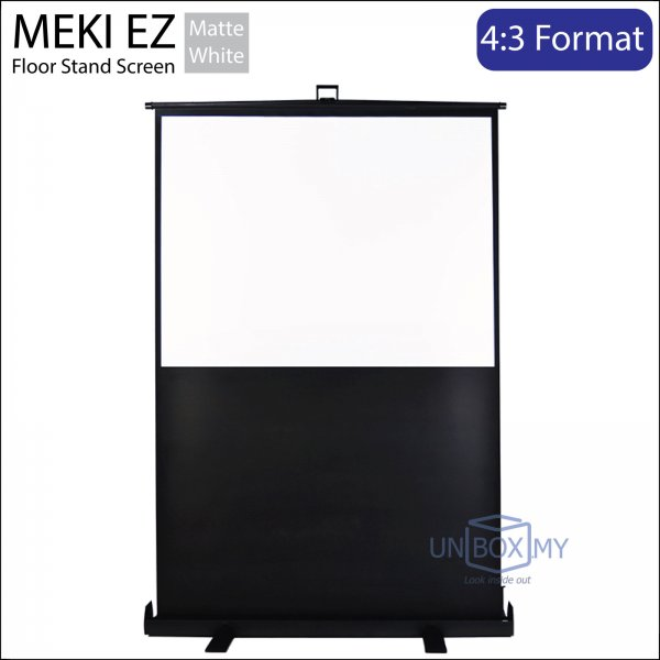 MEKI Scissor Floor Stand Portable Projector Screen Matte White NTSC (4:3)