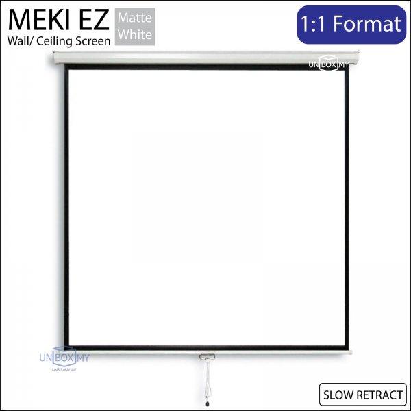 MEKI EZ Manual Pull Down Slow Retract Projector Screen Matte White (AV 1:1)