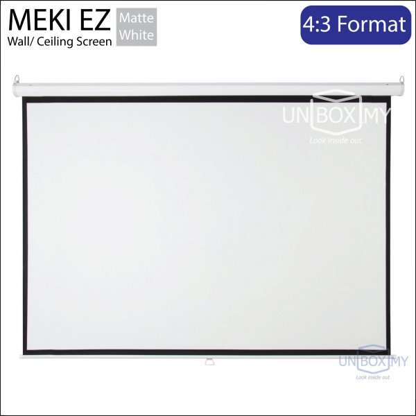 MEKI EZ Manual Pull Down Projector Screen Matte White (NTSC 4:3)