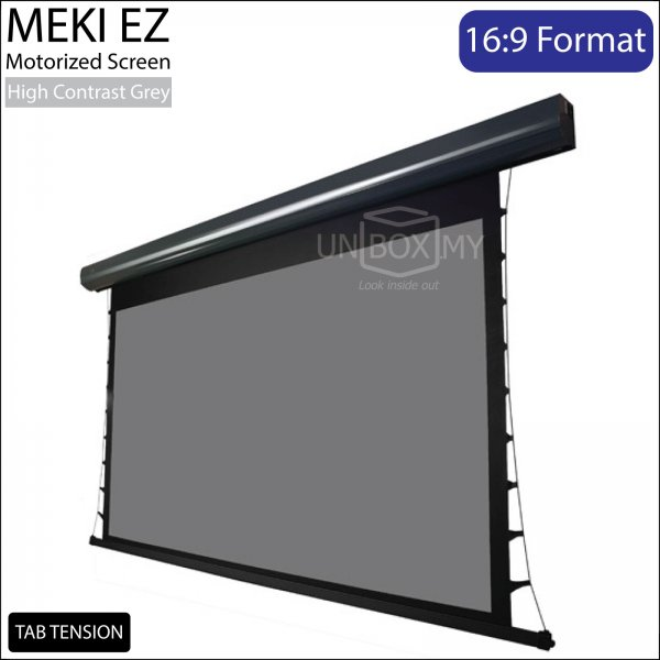 MEKI Tab Tension Motorized Roll Down Projector Screen High Contrast Grey (HDTV 16:9)