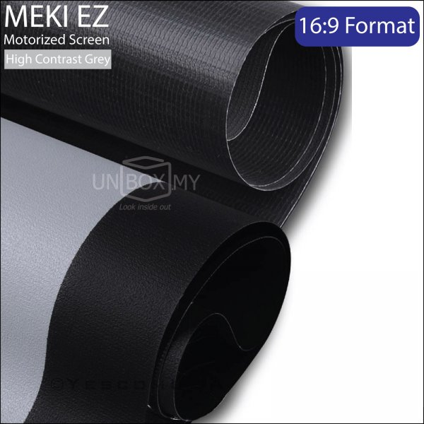 MEKI Motorized Roll Down Projector Screen High Contrast Grey (HDTV 16:9)