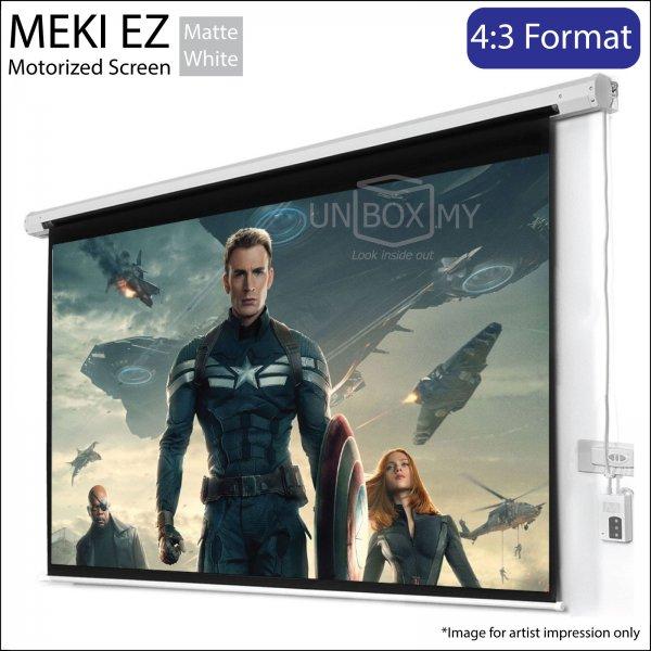 MEKI EZ Motorized Roll Down Projector Screen Matte White (NTSC 4:3)