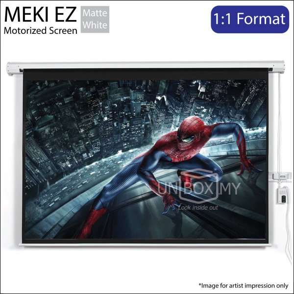 MEKI Electric Motorized Roll Down Projector Screen Matte White (AV 1:1)