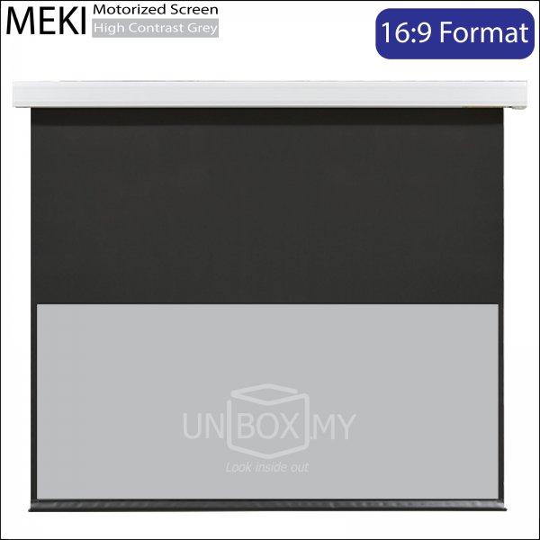 MEKI Motorized Roll Down Projector Screen High Contrast Grey (HDTV 16:9)