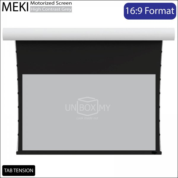 MEKI Tab Tension Electric Motorized Roll Down Projector Screen High Contrast Grey (HDTV 16:9)