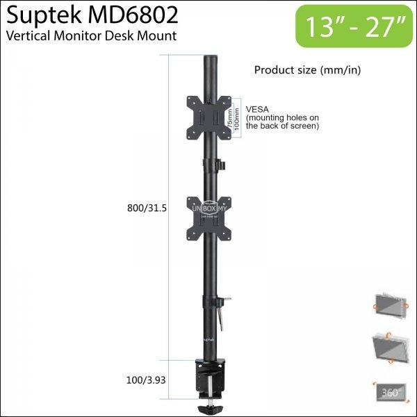 Suptek MD6802 Dual Monitor Vertical Desk Mount Stand