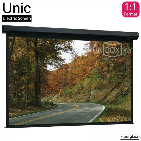 Unic Motorized Roll Down Projector Screen Fiberglass Matte White (AV 1:1)