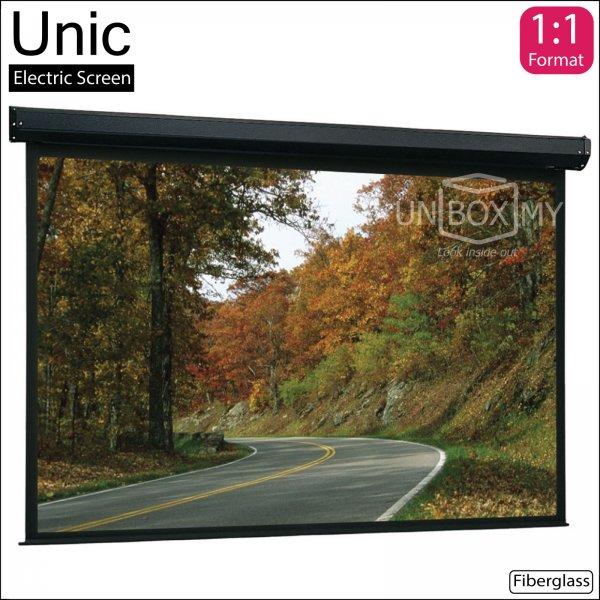 Unic Motorized Roll Down Projector Screen Fiberglass Matte White (AV 1:1)