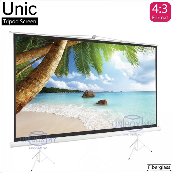 Unic Portable Tripod Projector Screen Fiberglass Matte White (NTSC 4.3)