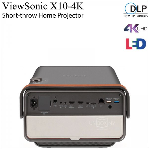 ViewSonic X10-4K UHD 4K DLP LED Short Throw Home Entertainment Projector