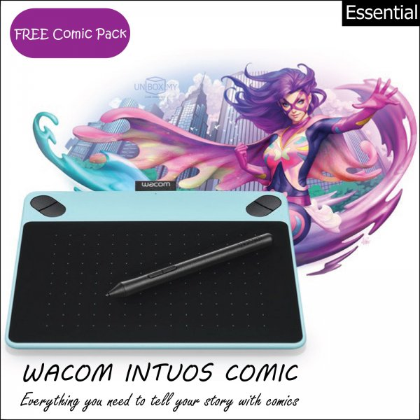 Wacom Intuos Comic Pen and Touch Tablet Small (Mint Blue)
